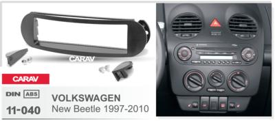 Carav Carav 11-040 | 1DIN переходная рамка Volkswagen New Beetle 1997-2010 (фото, вид 3)