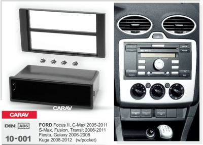 Carav Carav 10-001   1DIN переходная рамка Ford Focus II, C-Max 2005-2011; S-Max, Fusion, Transit 2006-2011; Fiesta, Galaxy 2006-2008; Kuga 2008-2012 (c карманом) (фото, вид 2)