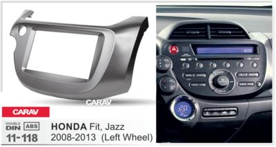 Carav Carav 11-118   2DIN переходная рамка Honda Fit, Jazz 2008-2013 (руль слева) (фото, вид 1)