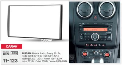 Carav Carav 11-123 | 2DIN переходная рамка Nissan Almera, Latio, Sunny 2012+, Tiida 2004-2010, X-Trail 2001-2014, Qashqai 2007-2013, Patrol 1997-2009, Juke 2010+, Cube 2008+, Versa 2007-2014 (фото, вид 1)