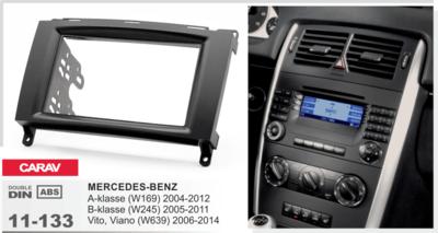 Carav Carav 11-133 | 2DIN переходная рамка Mercedes-Benz A-klasse (W169) 2004-2012, В-klasse (W245) 2005-2011, Vito 2006+, Viano 2008+ (фото, вид 1)