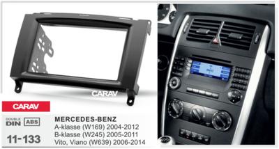 Carav Carav 11-133 | 2DIN переходная рамка Mercedes-Benz A-klasse (W169) 2004-2012, В-klasse (W245) 2005-2011, Vito 2006+, Viano 2008+ (фото, вид 2)