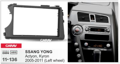Carav Carav 11-136   2DIN переходная рамка Ssang Yong Actyon, Kyron 2005-2015 (фото, вид 2)