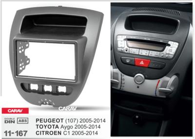 Carav Carav 11-167   2DIN переходная рамка Toyota Aygo 2005-2014, Peugeot (107) 2005-2014, Citroen C1 2005-2014 (фото, вид 1)