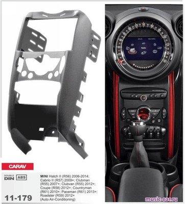 Carav Рамка MINI Hatch II (R56) 2006-2014; Cabrio II (R57) 2009-2015; Clubman (R55) 2007-2014; Clubvan (R55) 2012-2014; Coupe (R58) 2011-2015; Roadster (R59) 2012-2015 (c карманом / только для а/м с климат-контролем) (CARAV 11-179) (фото, вид 1)