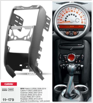 Carav Рамка MINI Hatch II (R56) 2006-2014; Cabrio II (R57) 2009-2015; Clubman (R55) 2007-2014; Clubvan (R55) 2012-2014; Coupe (R58) 2011-2015; Roadster (R59) 2012-2015 (c карманом / только для а/м с климат-контролем) (CARAV 11-179) (фото, вид 2)