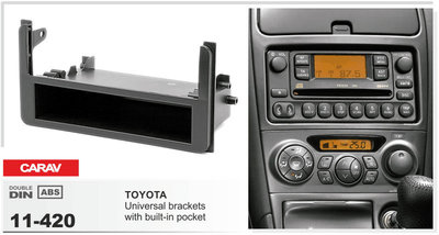 Carav Carav 11-420   1DIN переходная рамка Toyota универсальные боковые вставки со встроенным карманом (фото, вид 2)