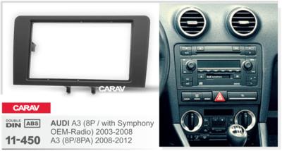 Carav Рамка AUDI A3 (8P / with Symphony OEM-Radio) 2003-2008; A3 (8P/8PA) 2008-2012 (CARAV 11-450) (фото, вид 1)