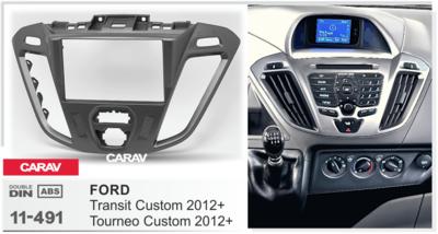 Carav Carav 11-491   2DIN переходная рамка Ford Transit Custom, Tourneo Custom 2012+ (фото, вид 1)