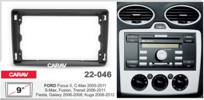 "Carav Carav 22-046   9"" переходная рамка Ford Focus II, C-Max 05-11, S-Max, Fusion, Transit 06-10 (фото, вид 3)"