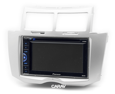 Carav Carav 11-100   2DIN переходная рамка Toyota Yaris, Vitz, Platz 2005-2010 (серебро) (фото, вид 6)