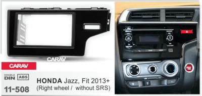 Carav Рамка HONDA Fit, Jazz 2013+ (только для а/м без сигнальной лампы Air-Bag / руль справа) (CARAV 11-508) (фото, вид 1)