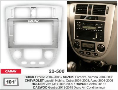 "Carav Carav 22-500 | 10.1"" рамка для магнитолы Suzuki Forenza, Verona 04-08, Chevrolet Lacetti, Nubira, Optra 04-08, Aveo 04-06, BUICK Excelle 04-08, HOLDEN Viva (JF) 05-09 (фото)"