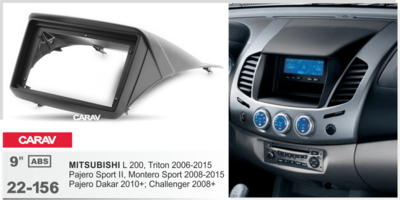 "Carav Carav 22-156 | 9"" переходная рамка Mitsubishi L 200,Triton 2006-2015, Pajero Sport 2008-2015"