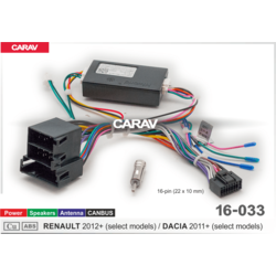 Carav Carav 16-033   разъем 16-pin Renault 2012+, Dacia 2011+ выборочн. модели (ISO, Питание + Динамики + Антенна + CANBUS)